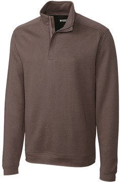 Cutter & Buck Brown Decatur Half-Zip Pima-Blend Jacket - Men
