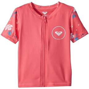 Roxy Kids Shortbreak Short Sleeve Zipped Rashguard Girl's Swimwear