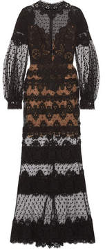 Elie Saab Cotton-blend Guipure Lace And Swiss-dot Tulle Gown - Black