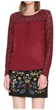Desigual Women's Burgundy Polyester Blouse.
