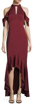 Shoshanna Montrose High-Low Ruffle Cold-Shoulder Gown