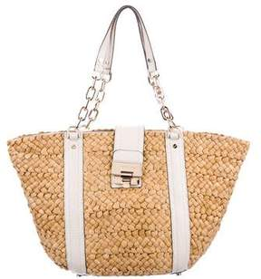 MICHAEL Michael Kors Leather-Trimmed Raffia Tote