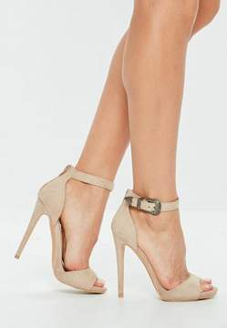 Missguided Nude Western Buckle Heeled Sandals