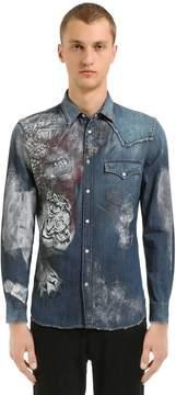 Just Cavalli Painted Cotton Denim Western Shirt