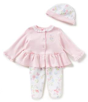 Little Me Baby Girls Newborn-9 Months Cardigan Top, Floral Footed Pants, & Hat 3-Piece Set