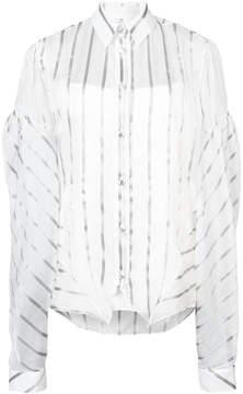 Christian Siriano striped oversized sleeve shirt