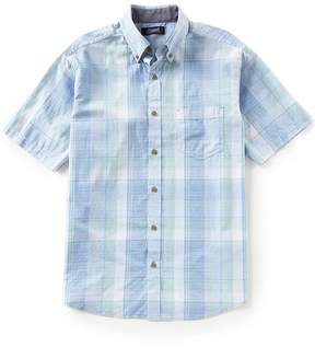 Roundtree & Yorke Casuals Short-Sleeve Plaid Sportshirt
