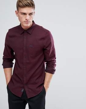 Jack Wills Somerby Regular Fit Textured Flannel Shirt In Damson
