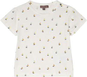 Emile et Ida White Boat Print T-Shirt