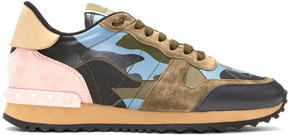 Valentino Green and Blue Garavani Camo Rockrunner Sneakers