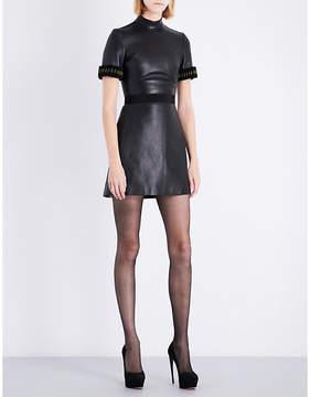 David Koma Grosgrain-trim fitted leather mini dress