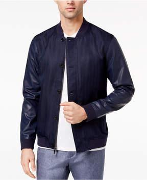 Ryan Seacrest Distinction Men's Slim-Fit Navy Herringbone Varsity Bomber Jacket, Created for Macy's
