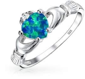 Celtic Bling Jewelry Heart Synthetic Blue Opal Claddagh Ring 925 Silver.