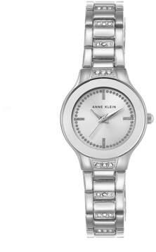 Anne Klein Crystal-Accented Silvertone Pavé Links Bracelet Watch