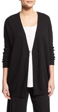 Joan Vass One-Button Relaxed Cotton Cardigan, Black
