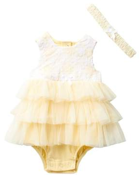 Little Me Yellow Daisy Bodysuit & Headband Set (Baby Girls)