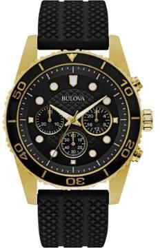 Bulova Sport Chronograph Black Dial Black Rubber Men's Watch 98A191