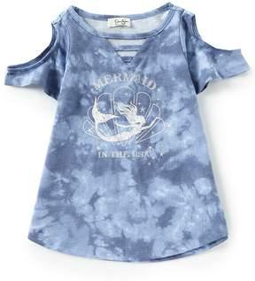 Jessica Simpson Little Girls 4-6X Ula Cold-Shoulder Tie Dye Tee