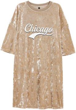 H&M Velvet T-shirt Dress - Beige