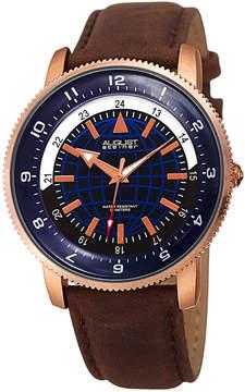 August Steiner Mens Brown Strap Watch-As-8213rgbu