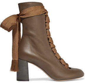 Chloé Harper Textured-leather Ankle Boots - Brown