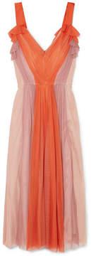 Cushnie et Ochs Color-block Gathered Silk-tulle Dress - Papaya