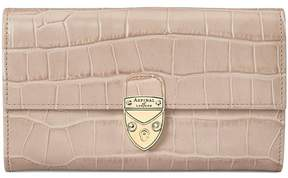 Aspinal of London Mayfair Purse In Deep Shine Soft Taupe Croc
