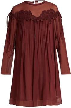 Chloé Lace-appliqué brushed silk-georgette dress