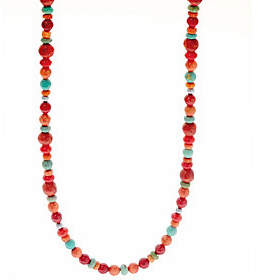 American West 32 Multi-color Sterling SilverBead Necklace