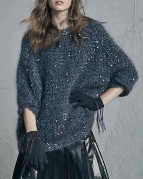 Brunello Cucinelli Cashmere Gloves with Monili Waterfall Fringe, Dark Gray
