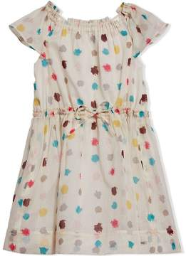 Burberry Cut-out Detail Spot Print Cotton Dress