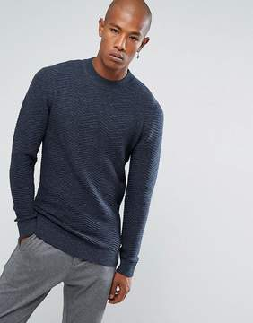 Selected Knitted Hign Neck Sweater With Texture Detail In 100% Cotton
