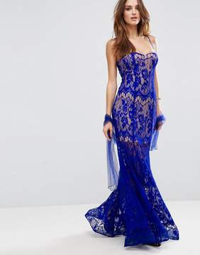 Forever Unique Lace Strappy Maxi Dress With Sheer Detailing