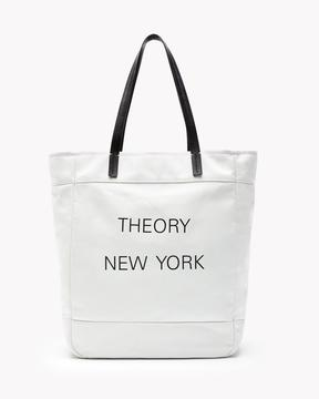 Theory New York Box Tote In Canvas And Leather
