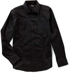 Murano Liquid Luxury Slim Long Sleeve 2 Pocket Point Collar Woven Shirt