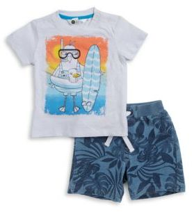 Petit Lem Baby's Two-Piece Tropical Surfer Tee and Shorts