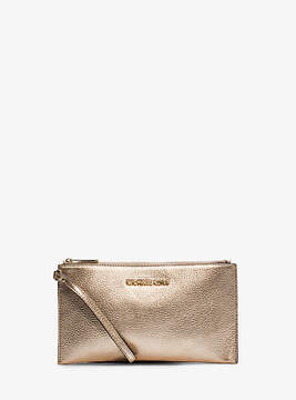 Michael Kors Bedford Large Metallic Leather Wristlet - GOLD - STYLE