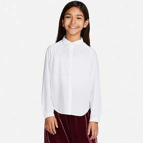 Uniqlo Girl's Rayon Long-sleeve Blouse (online Exclusive)