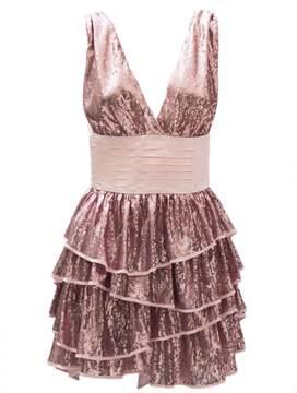 Christian Pellizzari Pink Sequin Ruffled Dress With Black Waistband.