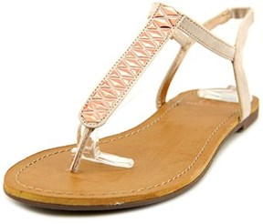 Material Girl Sage Women Open Toe Canvas Gold Thong Sandal.