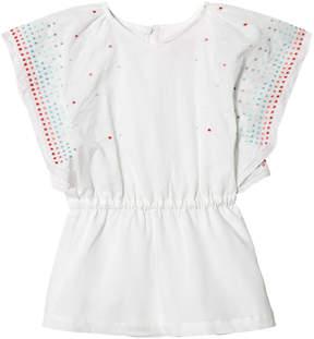 Lili Gaufrette White Kaftan Style Multi Spot Dress