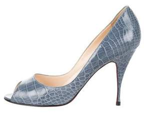 Christian Louboutin Crocodile Peep-Toe Pumps