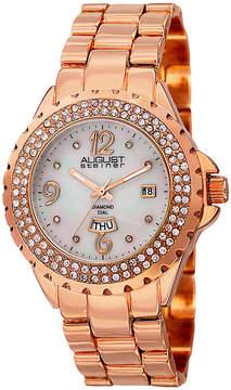 August Steiner Womens Rose Goldtone Strap Watch-As-8156rg