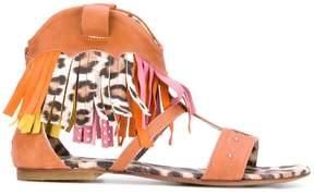 Roberto Cavalli leopard fringed sandals