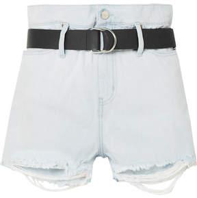 IRO Andel Belted Distressed Denim Shorts - Light denim