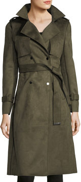 Neiman Marcus Faux-Suede Trench Jacket
