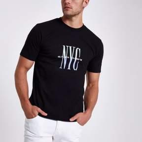 River Island Mens Black 'NYC' flock print T-shirt