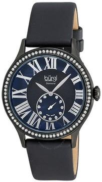 Burgi Black Ion-plated Swiss Quartz Diamond Strap Ladies Watch