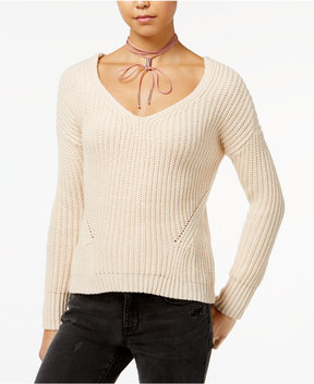 American Rag Juniors' Lace-Up-Back Sweater, Created for Macy's
