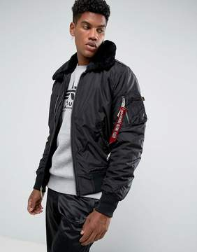 Alpha Industries Bomber Jacket Shearling Collar in Black